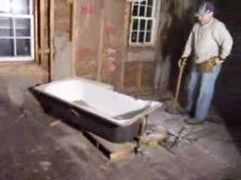 day 37 house rehab break up remove cast iron tub youtube. Black Bedroom Furniture Sets. Home Design Ideas