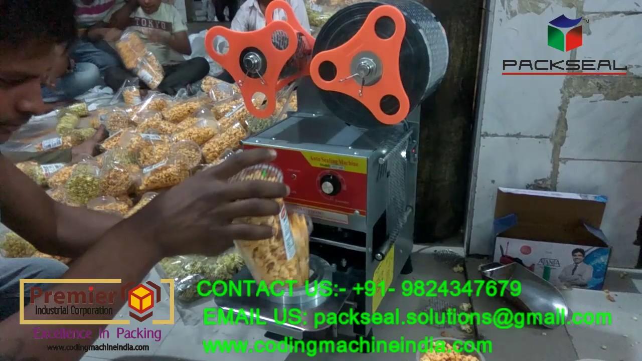 CUP SEALER MACHINE, AUTOMATIC POPCORN GLASS SEALING MACHINE