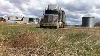 Backing up the double grain trailer