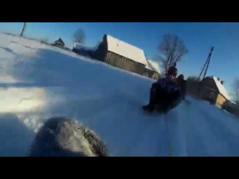 Winter Exreme Sport Fun with Sledges Lithuania