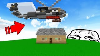 ATTACK HELICOPTER DROPS TNT ON PLAYERS HOUSE! (Minecraft Trolling)