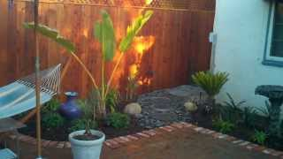 Ventura Landscape Design, Brick, Fountain, Redwood Stained Fence, Lighting, Plants