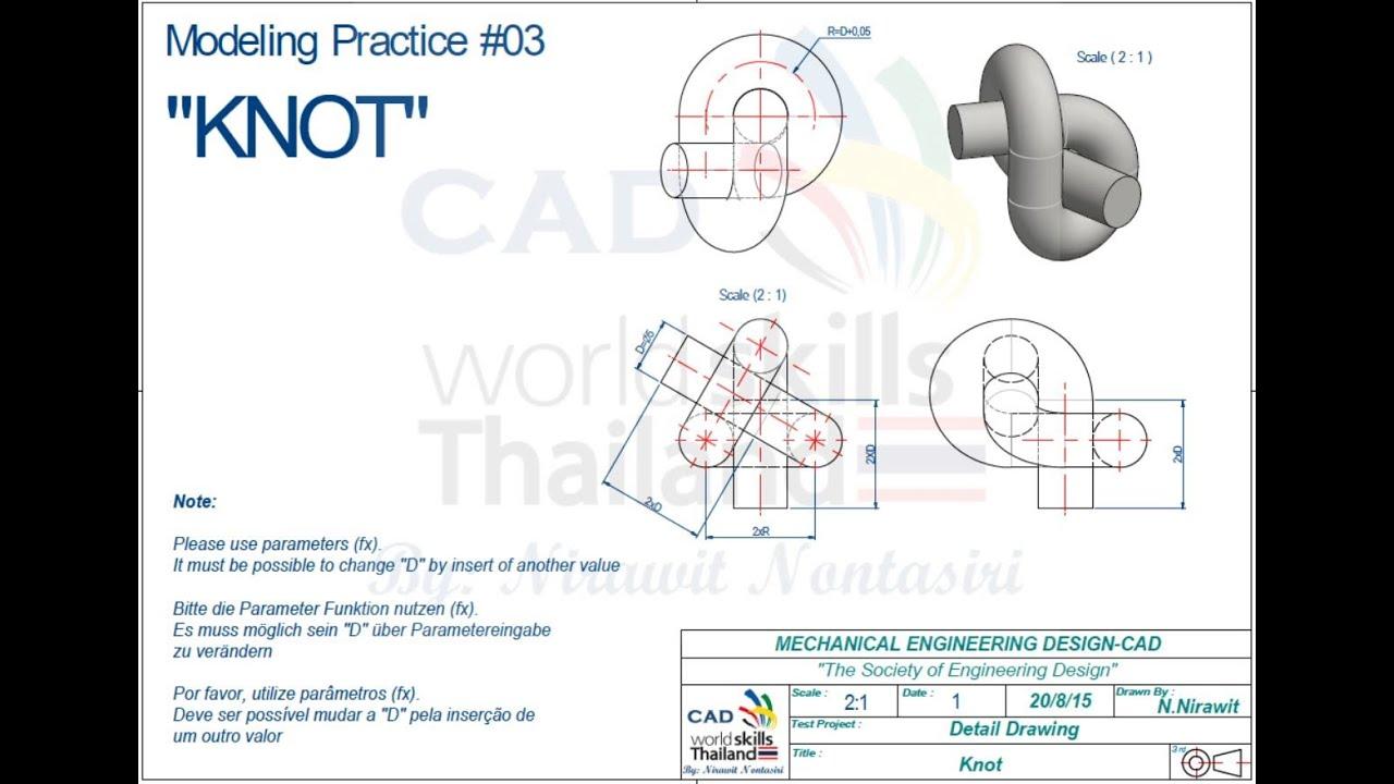 Autodesk Inventor Advance Modeling Practice 2 Knot Youtube