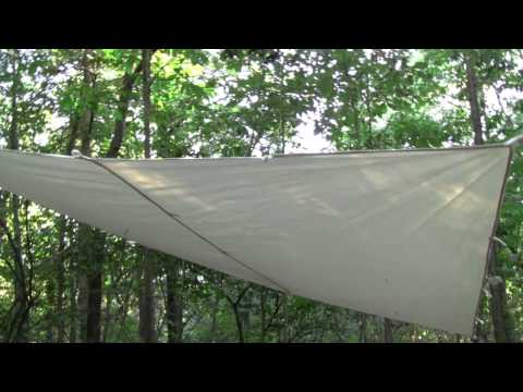 How to set up a 10 X 10 Canvas Tarp for a Primitive Camp, Test Part 1