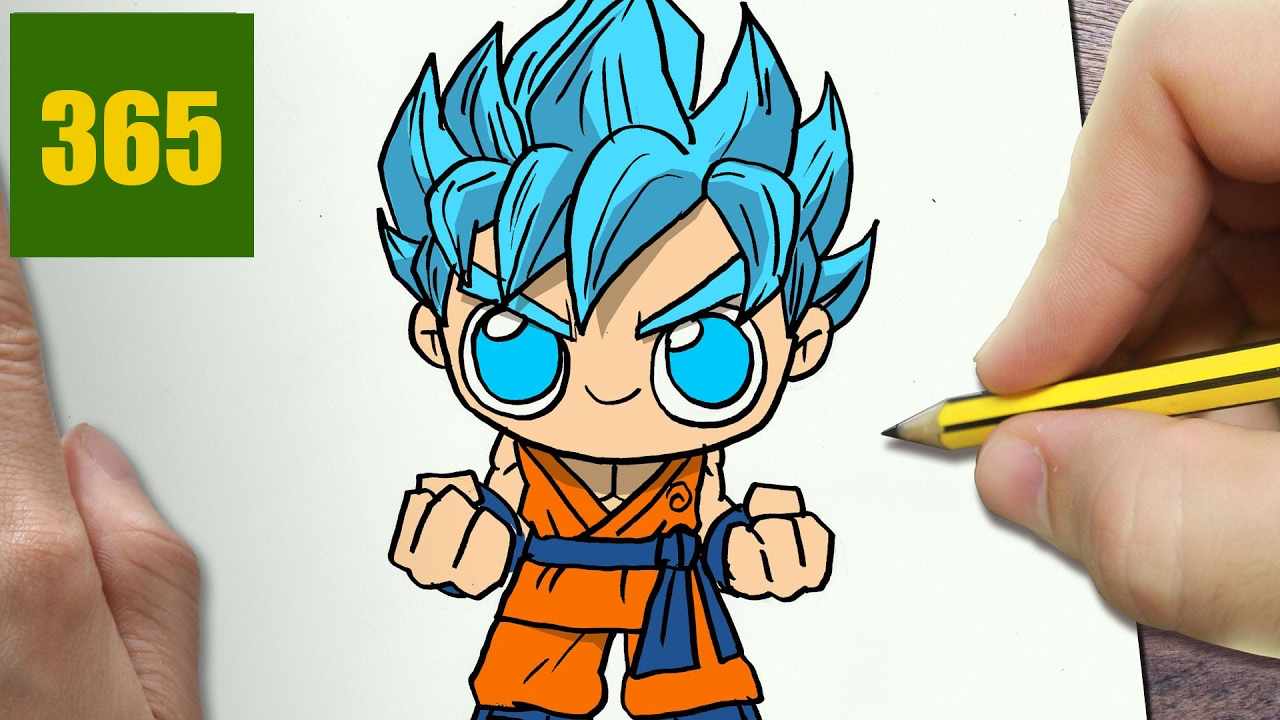 Comment dessiner goku ssj dieu bleu kawaii tape par tape dessins kawaii facile youtube - Dessin dragon ball z facile ...