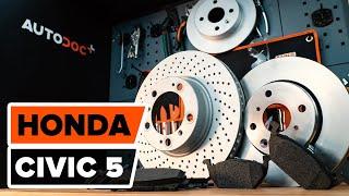 Kuinka vaihtaa etu jarrulevyt, etu jarrupalat HONDA CIVIC 5 -merkkiseen autoon OHJEVIDEO | AUTODOC