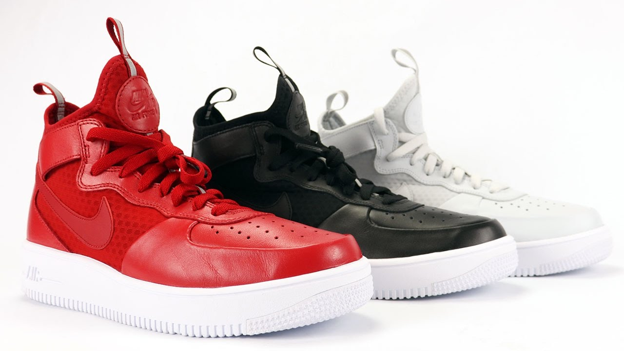 Nike Air Force 1 UltraForce Mid Review On Feet in Red, Black and Pure Platinum - YouTube