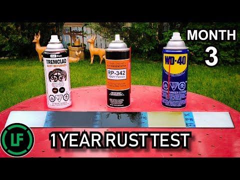 1 Year RUST Test - 3 Month Update - Tremclad Rust Reformer   Cosmoline RP-342   WD-40