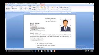 How To Add Picture Resume And CV Bangle, How To Insert Photo In CV | Add Photo In Resume |