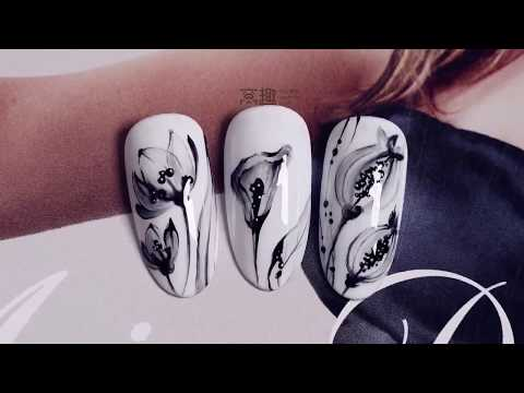【Watchnail Teach Me-629th phase】Elegant Chinese Ink-Painting Flowers【窝趣美甲你求窝教-第629期】优雅水墨花.mp4