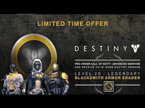 Destiny: Pre-order CoD AW To Unlock A Level 20 Blacksmith Armor Shader (Destiny Beta Gameplay)
