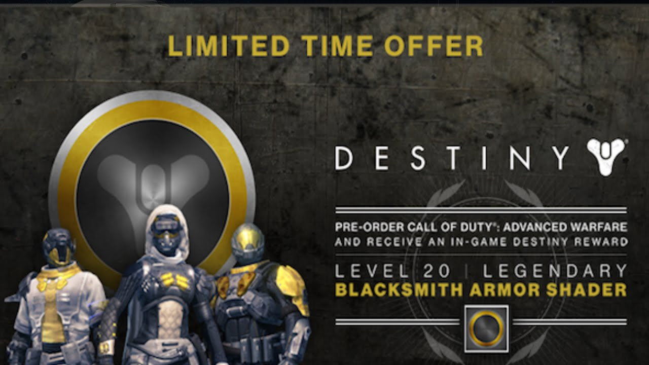 Destiny pre order cod aw to unlock a level 20 blacksmith armor