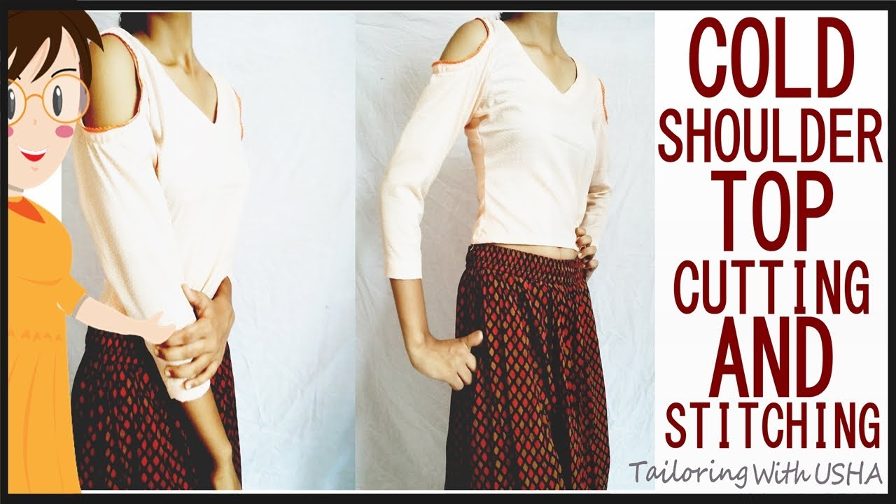 5d31390db172b Cold Shoulder Top (Cutting And Stitching) - DIY. Tailoring With Usha