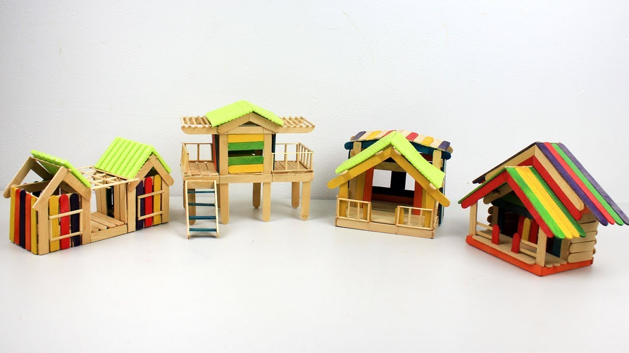 How to make Popsicle Stick Houses Collection #2 - Easy and Quick ...