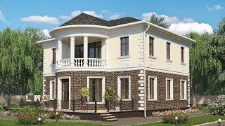 Проект дома в классическом стиле из кирпича. Дом с эркером, терраса и балкон. Ремстройсервис KR-196