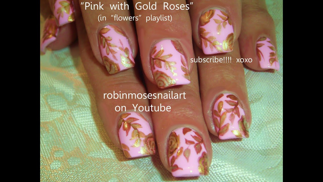 Gold Roses on Blush Pink Polish! Elegant Nail Art design Tutorial ...