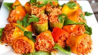 Healthy Vegan Vegetarian Dish - Rice Stuffed Bell Peppers Recipe - Heghineh.com