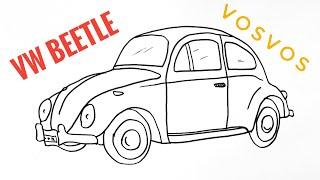 How To Draw Volkswagen Beetle - Car Drawing - VosVos Araba Çizimi