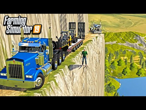 EXTREME MOUNTAIN TRUCKING CONTRACT! (3,000 FT DROP OFF CLIFF!) | FARMING SIMULATOR 2019
