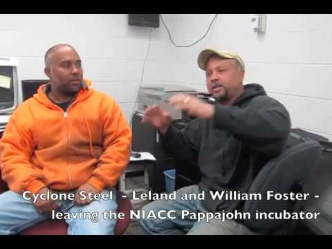 Cyclone Steel    Leland and William Foster     leaving the NIACC Pappajohn incubator