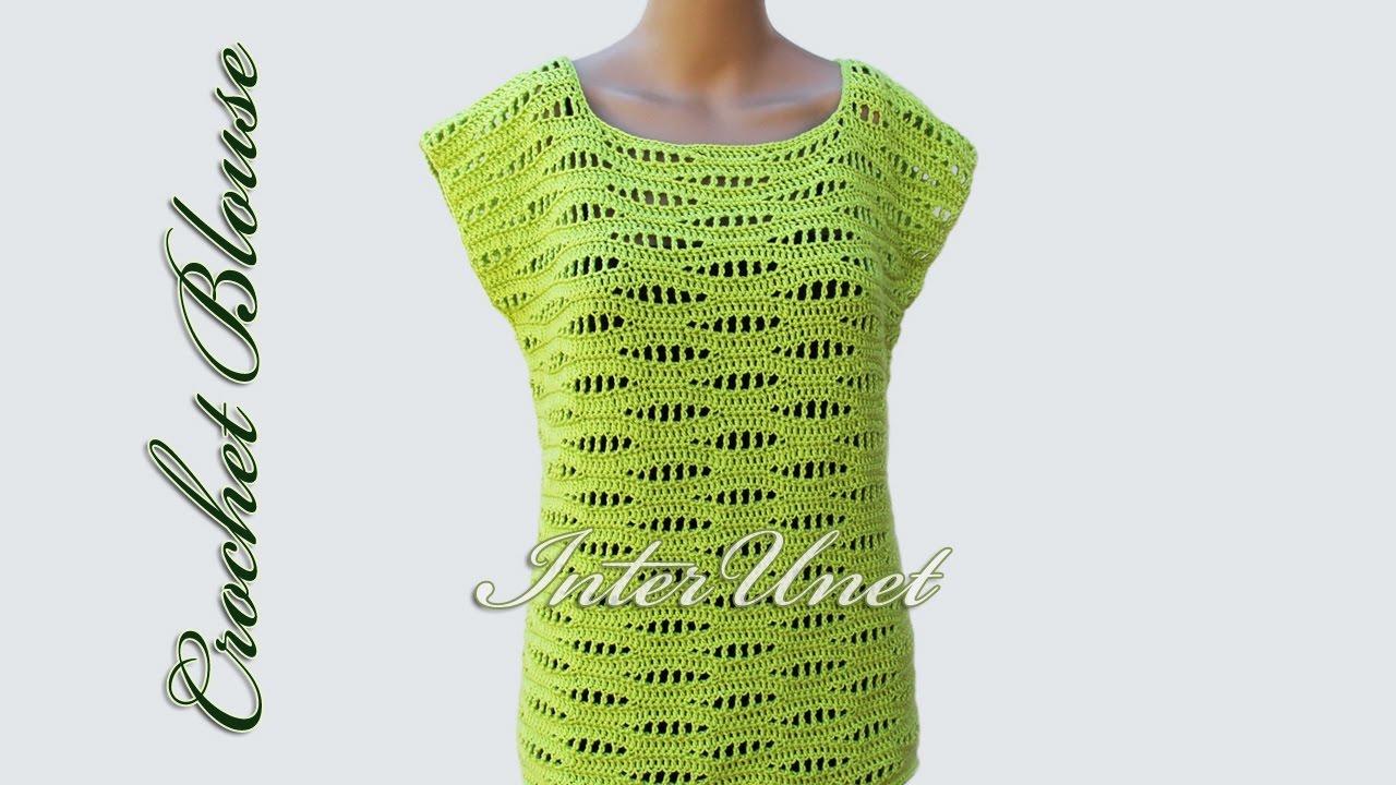 Crochet blouse – sleeveless pullover top crochet pattern - YouTube