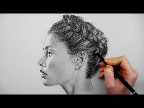 Timelapse | Drawing, shading and blending a realistic profile portrait on grey paper | Emmy Kalia