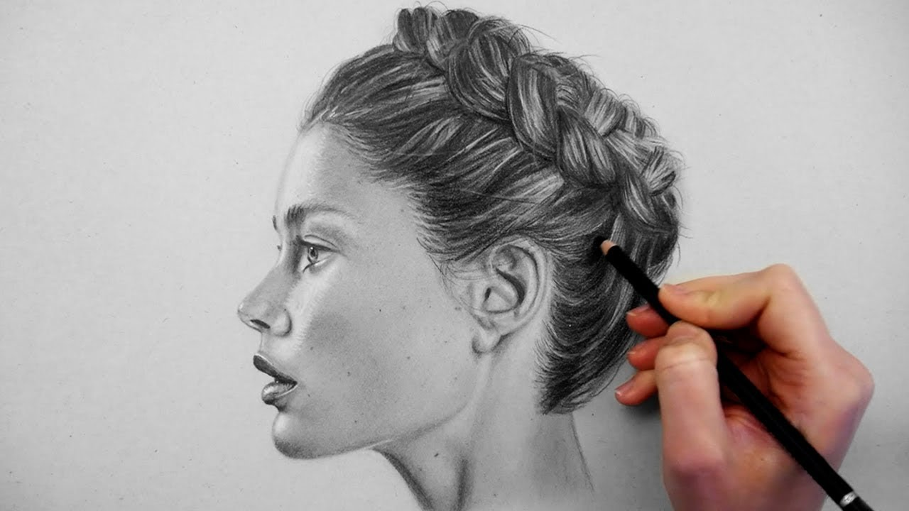 Timelapse drawing shading and blending a realistic profile portrait on grey paper emmy kalia