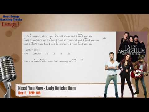 Need You Now - Lady Antebellum Vocal Backing Track with chords and lyrics