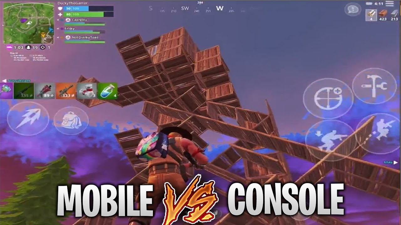 Pro Fortnite Mobile Player vs. Console PS4 Players! Build ...