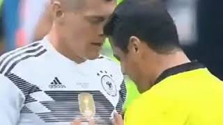 Referee pushes toni kroos and his reaction is priceless funny moment in world cup russia 2018
