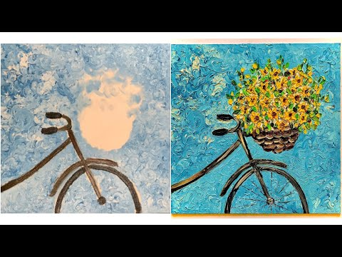 Bike with Flower Basket Finger Painting Demo | Cycle with Flowers Scenery Abstract Oil Painting |