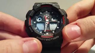 How to set time and date on a G-Shock 5081 module watch GA-100 - FULL Guide