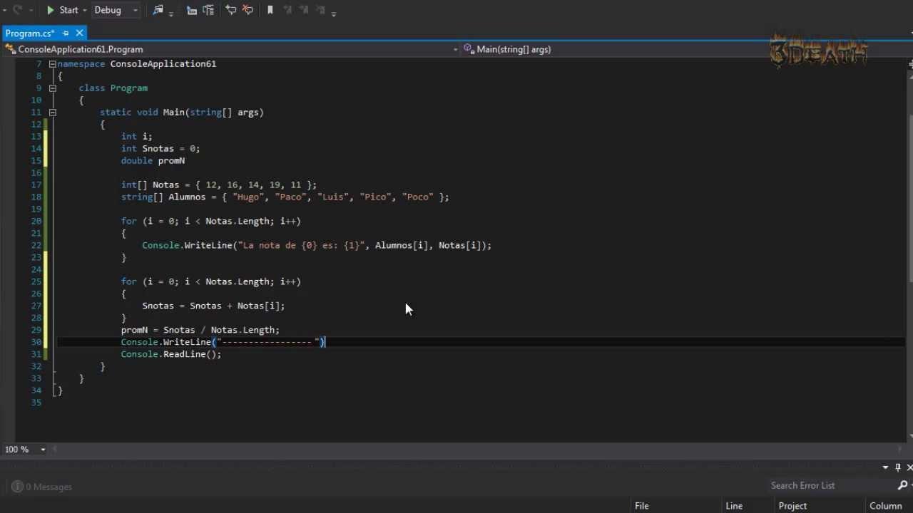 C Declarar Arreglo Suma Y Promedio Visual Studio 2012