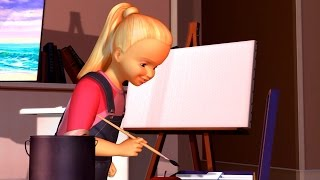 Barbie as Rapunzel - Op & End: Rapunzel & Kelly painting a picture