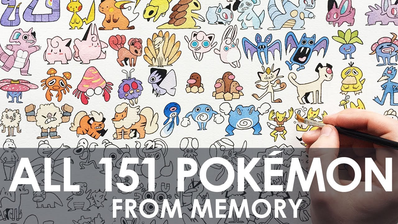 Drawing All 151 Pokemon From Memory Youtube