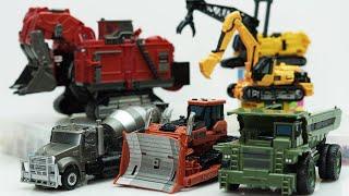 Transformers Construction Devastator Scavenger, Mixmaster, Scrapmetal & LEGO Stop motion Robot Truck