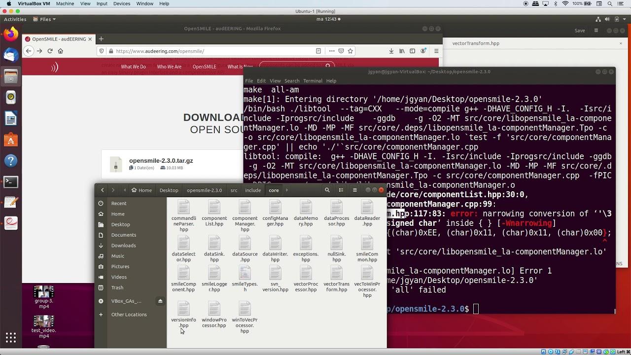 How to resolve error 'error: narrowing conversion of' of open smile on Ubuntu