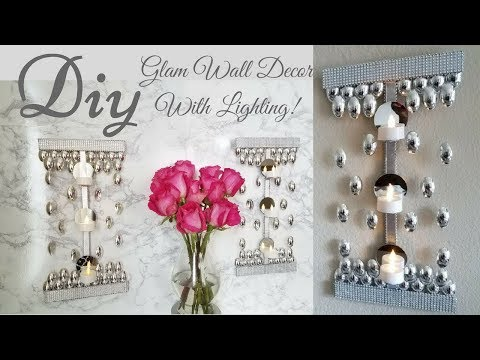 Diy Glam Wall Decor with Minimal Lighting!