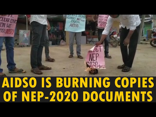 AIDSO IS BURNING COPIES OF NATIONAL EDUCATION POLICY - 2020 DOCUMENTS