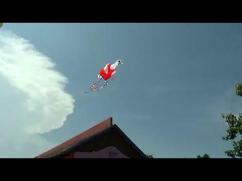 'Bike kite' flies high in the sky