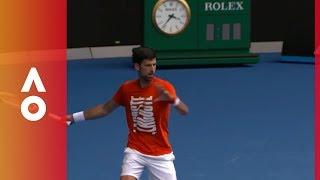 Djokovic warms up before AO18 | Australian Open 2018