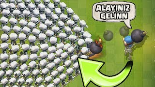 1 BOMBACI 1000 İSKELETE KARŞI !!! - Clash Royale