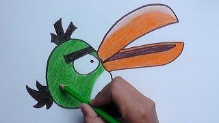 Dibujando y Pintando a Pájaro Verde (Angry Birds) - Drawing and Painting at Green Bird