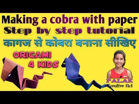 Make dangerous Cobra snake / anaconda with paper easily # Origami diy for kids by Palak