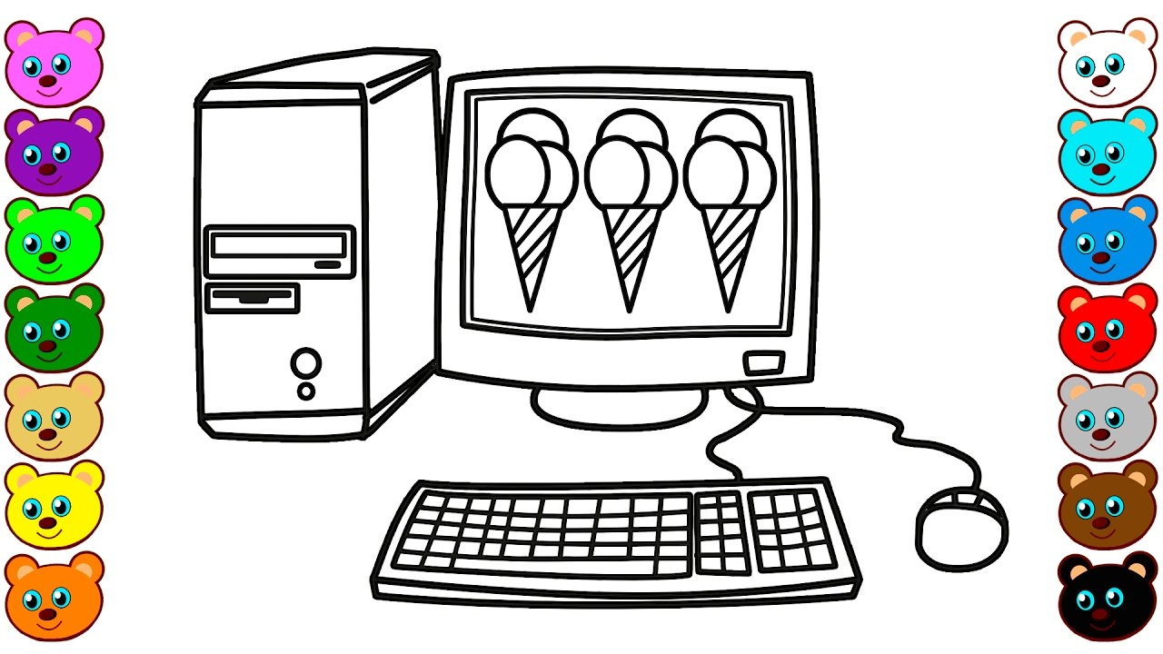 How To Draw Desktop Computer With Ice Cream
