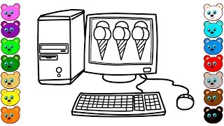 How to Draw Desktop Computer with Ice Cream - Coloring Book for Kids