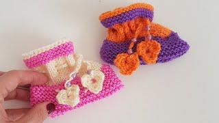 Kolay bebek Patik (ters ve düz örgü ile) / Easy Baby Shoe