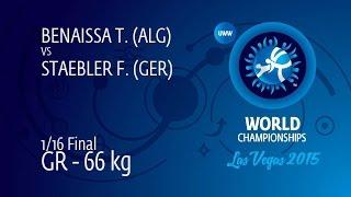 1/16 GR - 66 kg: F. STAEBLER (GER) df. T. BENAISSA (ALG) by FALL, 8-0