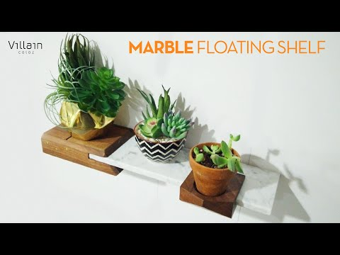 DIY Marble Floating Shelf + Planter