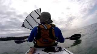 Launching in moderate winds with large sail up. Kayak Sailing with Falcon Sails Thumbnail